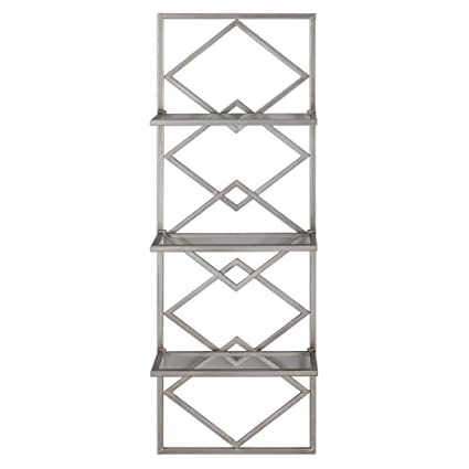 77327d4b3c Amazon.com: MY SWANKY HOME Art Deco Style Silver Wall Shelf Antiqued  Contemporary | Three Metallic Hanging Open Diamond Shelves: Home & Kitchen