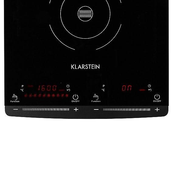 Klarstein VariCook Slim • Placa de Inducción • 2 Fogones • 2900 W • 60 a 240 °C • 10 niveles de temperatura • Superficie de cristal • Timer 1 a 80 ...