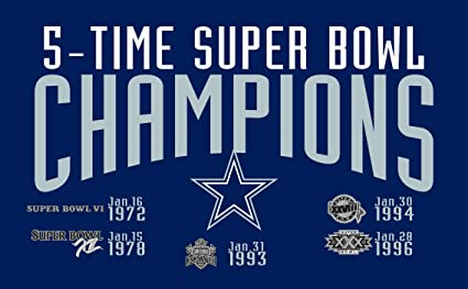 purchase cheap 536cb b0570 RongJ- store NFL Super Bowl 3-Foot by 5-Foot Banner Champion Flag (Dallas  Cowboys 5-time)