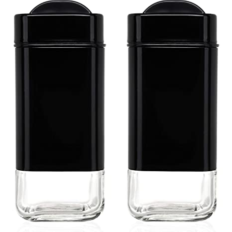 Chefvantage Salt And Pepper Shakers Set With Adjustable Pour Holes Black Salt Shakers
