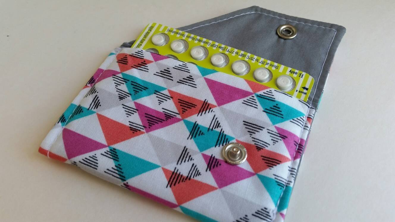 Birth Control Case Sleeve with Snap Closure Triangles