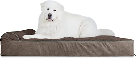 Amazon Com Furhaven Pet Dog Bed Orthopedic Goliath Quilted Faux Fur And Velvet Chaise Lounge Living Room Couch Pet Bed With Removable Cover For Dogs And Cats Espresso 4xl Pet Supplies