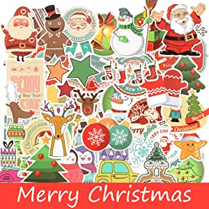 Christmas Sticker for Water Bottle,Christmas Decoration Sticker Decal for Laptop,100 PCS Christmas Waterproof Vinyl Sticker for Phone,Travel,Computer,Hydro Flasks,Car,Bicycles,Luggage (Christmas)