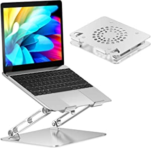 """STOON Laptop Stand, Adjustable Computer Riser Stand for Desk, Aluminum Ventilated Cooling Notebook Stand Mount with Heat-Vent, Compatible with MacBook Air Pro, Lenovo, Dell, HP, More 10-16"""" Laptops"""