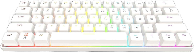 GK61 Mechanical Gaming Keyboard - 61 Keys Multi Color RGB Illuminated LED Backlit Wired Programmable for PC/Mac Gamer (Gateron Optical Blue, White)