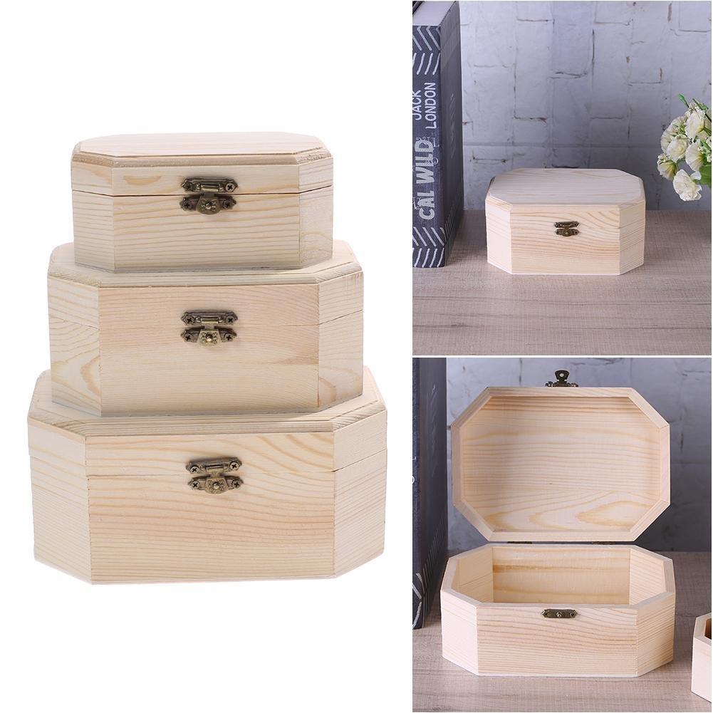 HighPlus 3X Octagonal Wooden Pirate Treasure Chest Wood Storage Decoupage Craft Box by HighPlus (Image #1)