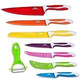 G.a HOMEFAVOR GA Homefavor Ensemble de 8 Couteaux Colorés.Couteau de Cuisine Couteau de Chef Couteau à Éplucher Couteau à Graver Multi-Usages Multicolore avec Éplucheur