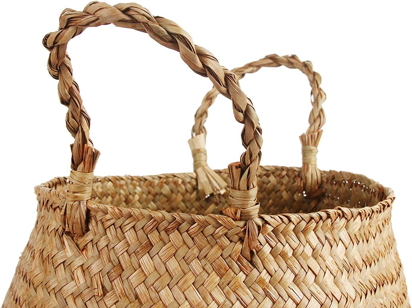 BlueMake Woven Seagrass Belly Basket Set of 2 for Storage Plant Pot Basket and Laundry Picnic and Grocery Basket Medium+Large, Original