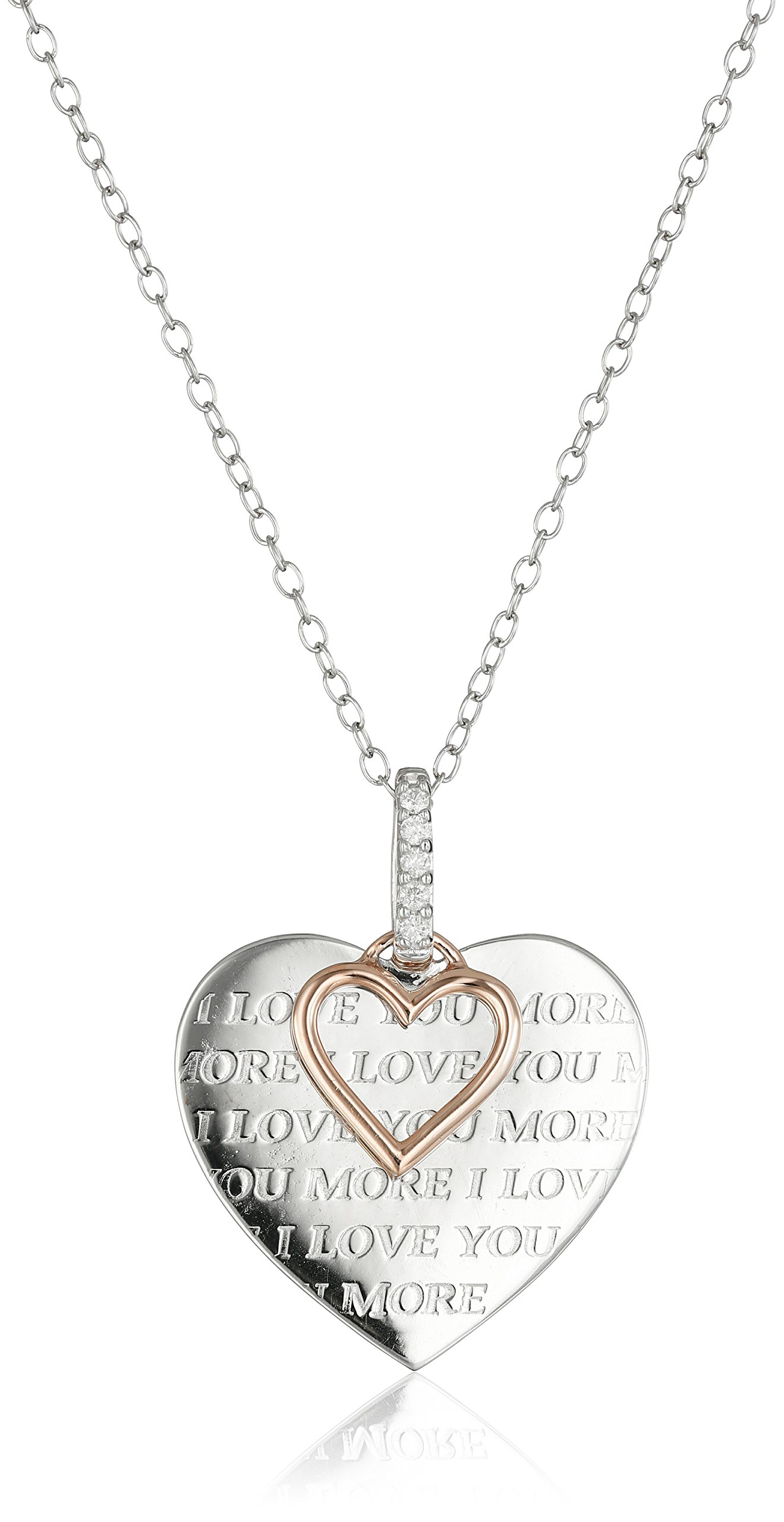 Sterling Silver, 10k Rose Gold, and Diamond ''I Love You More'' Pendant Necklace