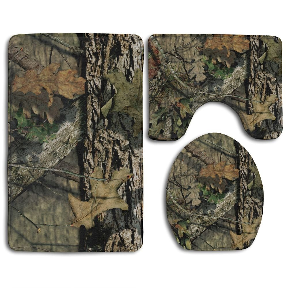 Camouflage Camo Tree Non-Slip Toilet Rug Set 3 Pcs Bathroom Mat Rug Lid Toilet Cover