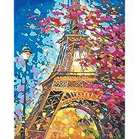 Tianmai nuevo pintura por número kits–paisaje torre Eiffel 40.6x 50.8cm con lino lona Paintworks–lona de pintura al óleo digital kits de decoración de para adultos niños regalos, Sin marco, 1