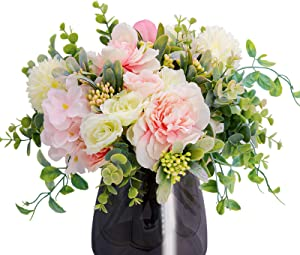 4 Pack of Artificial Flowers Silk Flower for Home Decor Indoor Aesthetic, Faux Greenery Décor Fake Plants for Desk and Shelf in Bathroom / Bedroom for Farmhouse / Christmas / Wedding Bouquets
