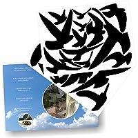Anti-Collision Stickers to Prevent Bird Strikes on Window Glass - Set of 17 Silhouettes - Colour: Black