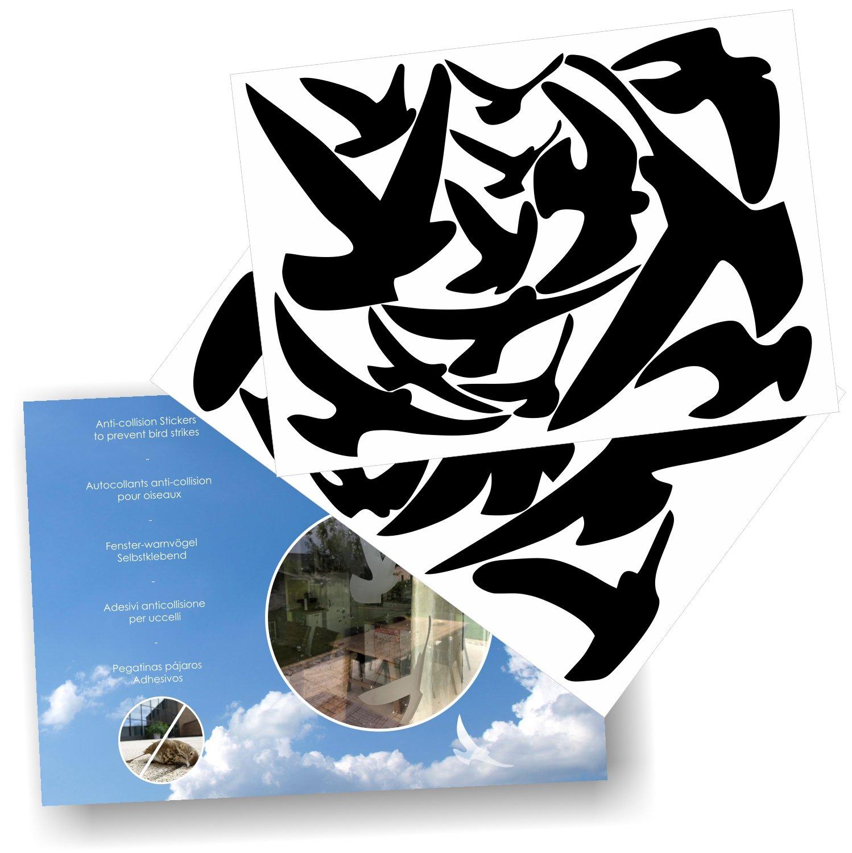Amazon com anti collision stickers to prevent bird strikes on window glass set of 17 silhouettes colour black home kitchen