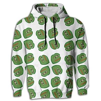 Euge H Mens Pepe Frog Meme Casual Long Sleeves Prined Sweatshirt
