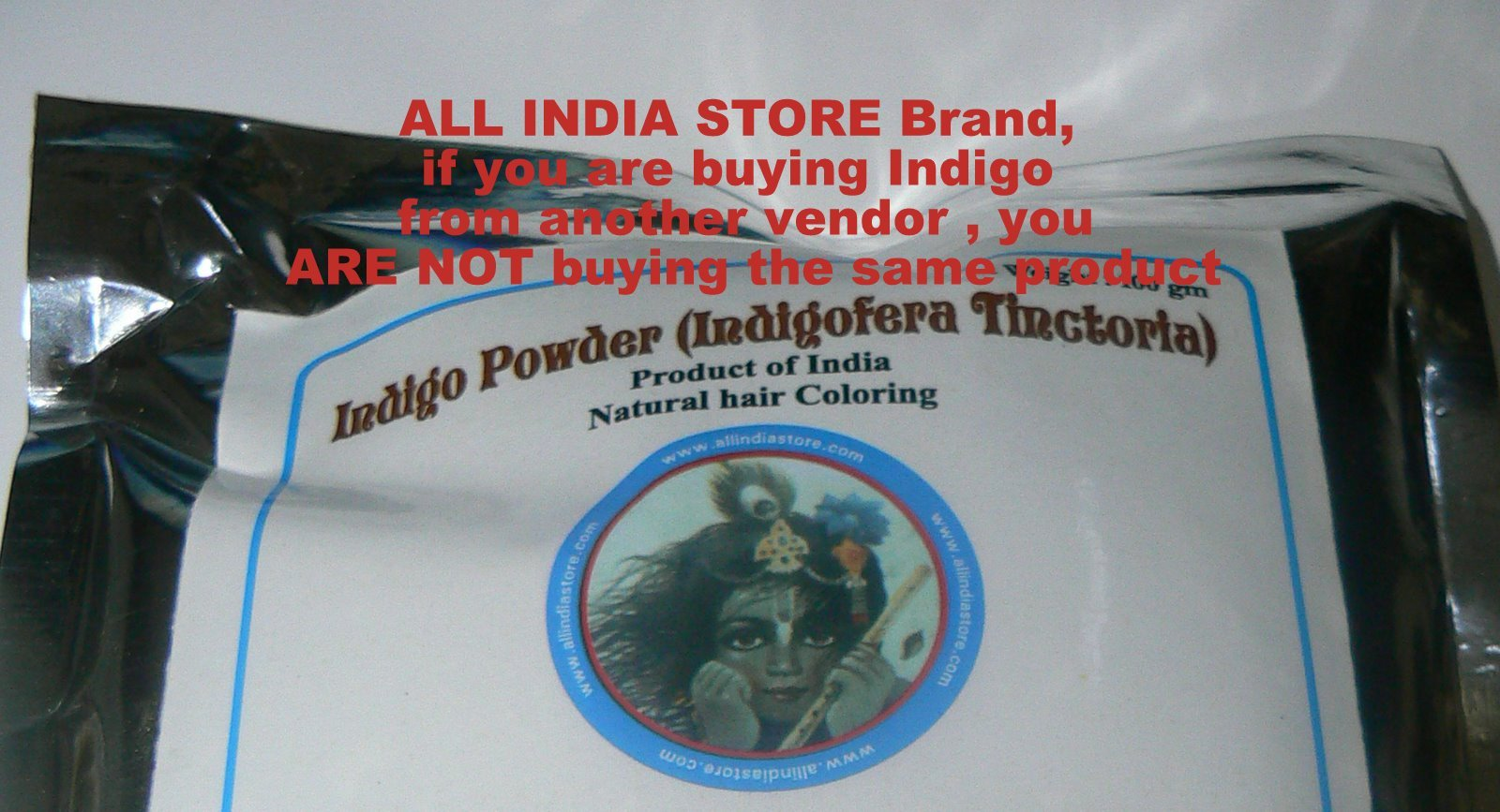 Indigo Powder 400 grams ALL INDIA STORE BRAND Indigofera Tinctoria (wasma in Arabic and Urdu) Product of India by All India Store