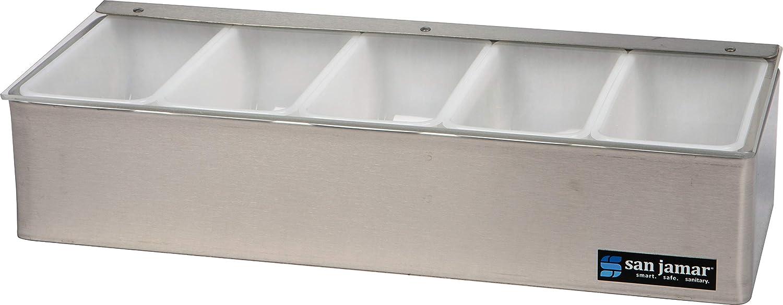 "San Jamar B4155L Stainless Steel Non-Chilled Garnish Tray with Plex Lid, 15"" Width x 3-1/2"" Height x 5-3/4"" Depth"