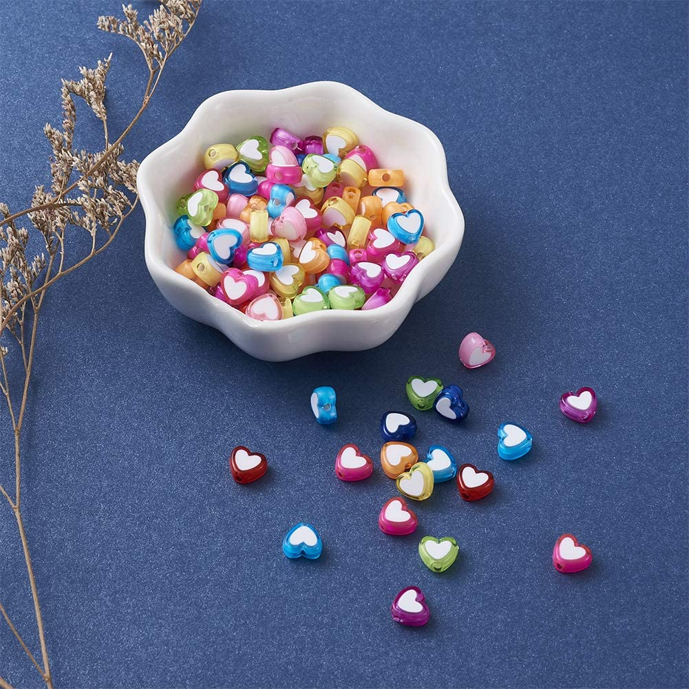 Cheriswelry 100pcs 9x10mm Cute Acrylic Heart Beads White Colorful Love Heart Pony Beads for DIY Message Name Word Bracelet Necklace Jewelry Making Supplies