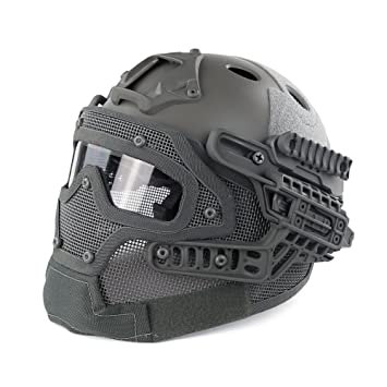 WoSporT HL-20-PJ-G Fast Tactical Helmet Combined with Full Mask and