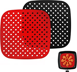 Rerted Reusable Air Fryer Liners, Non-Stick & Easy to Clean Silicone Air Fryer Mats Air Fryer Accessories For Cosori, Instant Vortex, Ninja, Nuwave, Power XL, and More   BPA Free - 8.5 Inch
