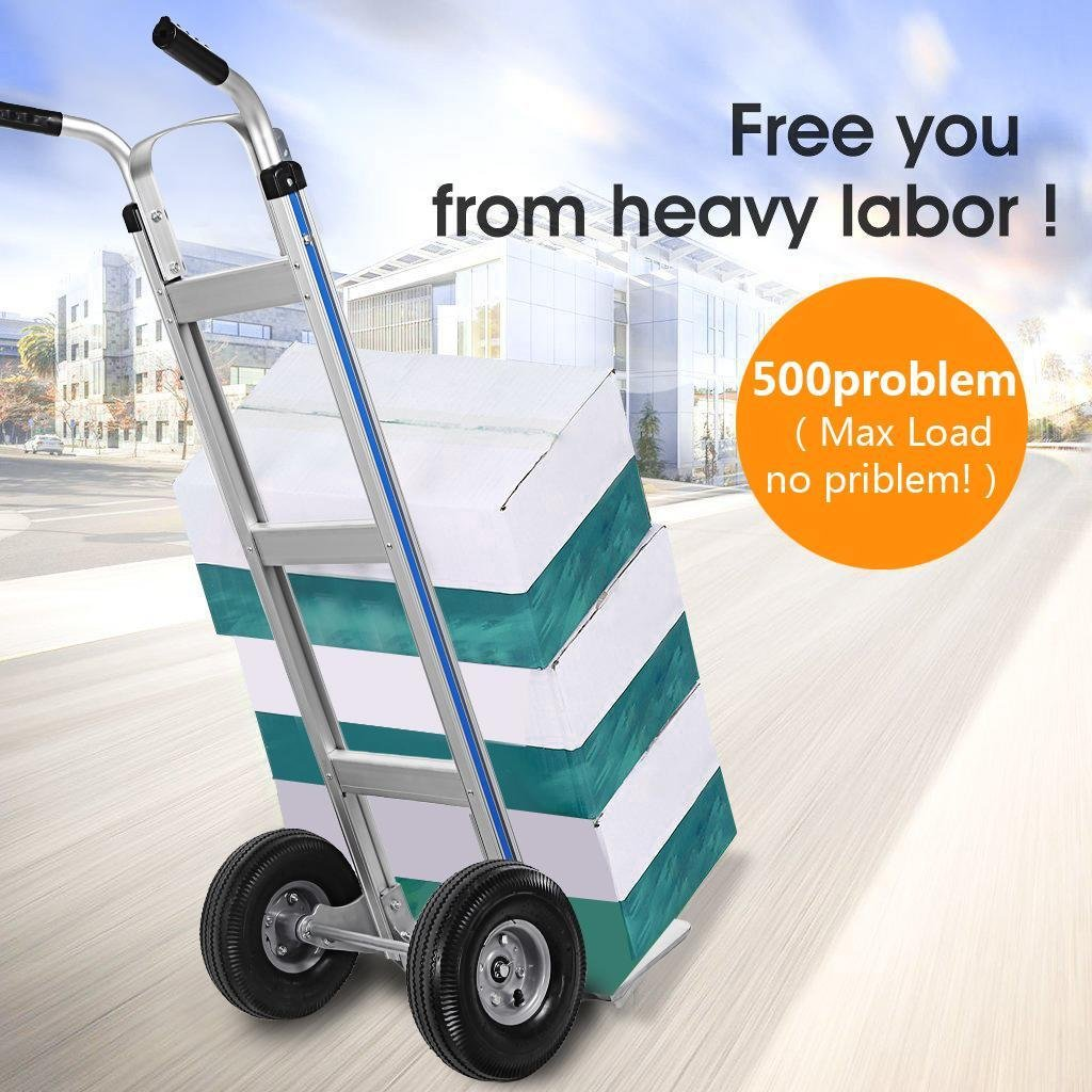 Ferty Aluminum Hand Trucks 500LBS With 2 Pneumatic Tires Dolly, Double Pistol Grip Handle Heavy Duty Trolley/Cart With 2 Wrench by Ferty (Image #8)