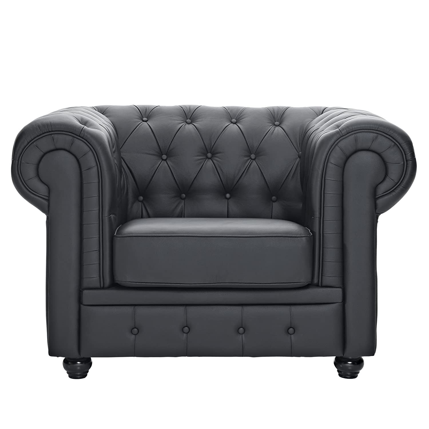 White chesterfield chair - Amazon Com Modway Chesterfield Armchair In Black Leather And Leather Match Kitchen Dining