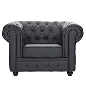 Merveilleux Modway Chesterfield Armchair In Black Leather And Leather Match