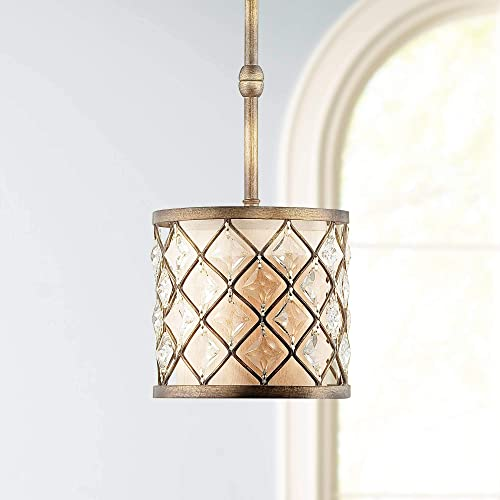 Jeweled Golden Bronze Mini Pendant Light 9 Wide Crystal Criss Cross Off White Fabric Fixture for Kitchen Island Dining Room – Regency Hill