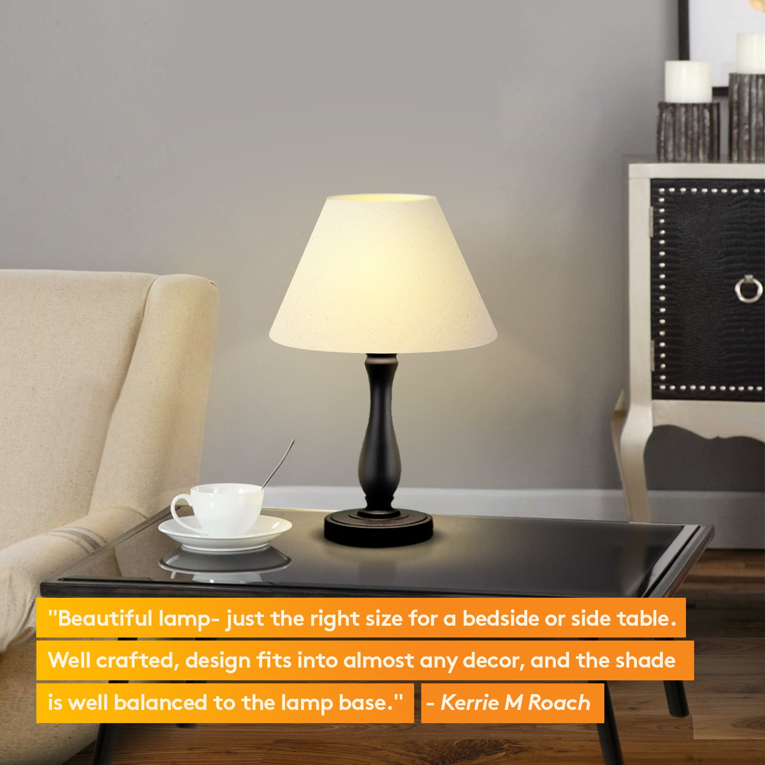 Brightech Noah LED Side Bedside Table & Desk Lamp: Traditional Elegant Black Wood Base, Neutral Shade & Soft, Ambient Light for Bedroom Nightstand, Living Room, Office; Incl. LED Bulb, Cord by Brightech (Image #6)