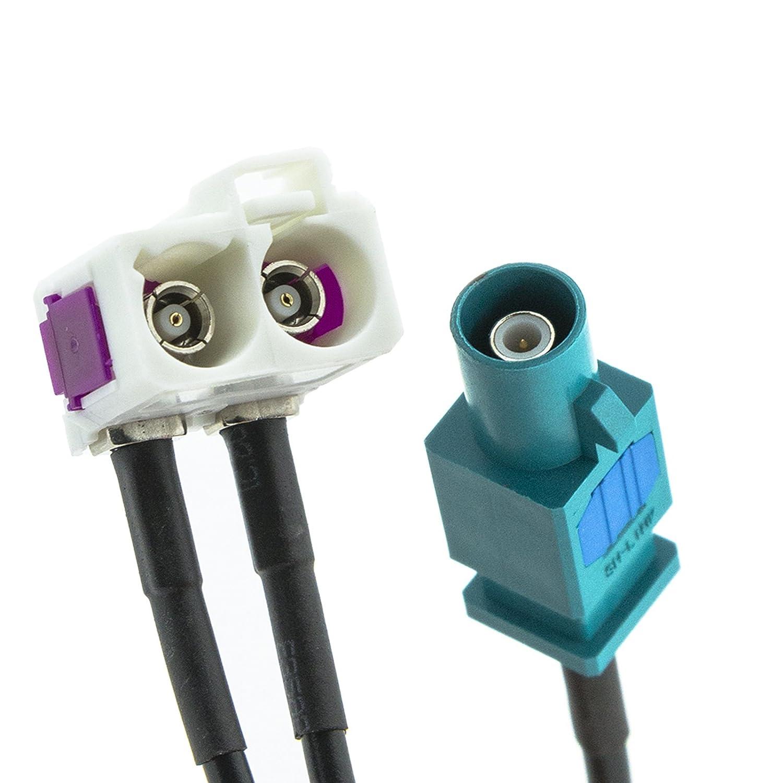 Adapter-Universe/® Z Adattatore distributore universale per antenna auto con connettore singolo e doppia presa FAKRA
