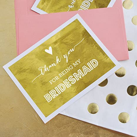 Amazon Com Bridesmaid Thank You Cards Set Of 4 Office Products