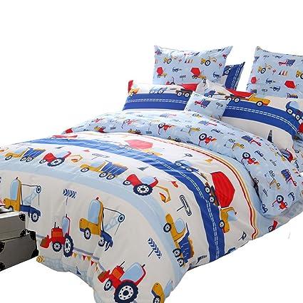 Brandream Blue Kids Boys Bedding Trucks Tractor Bedding Super Cute Children Bedding Sets 100 Cotton