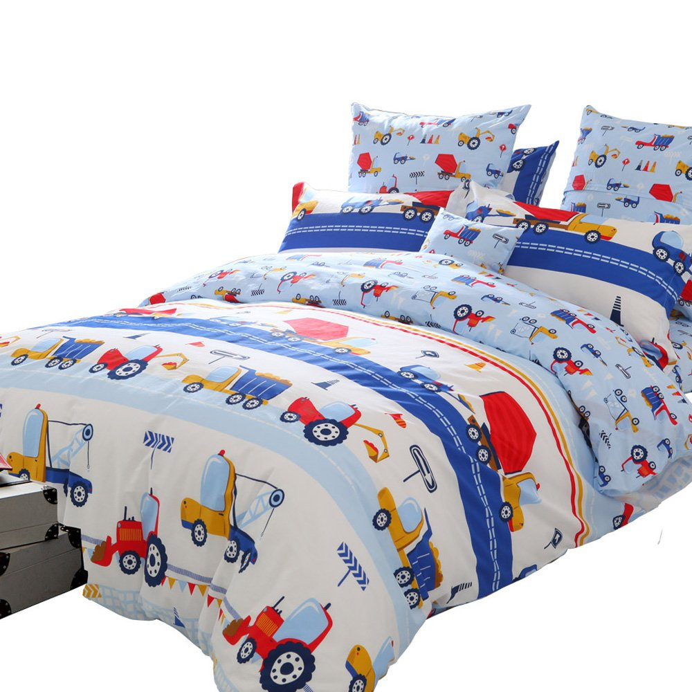 Brandream Blue Kids Boys Bedding Trucks Tractor Bedding Super Cute Children Bedding Sets 100% Cotton Duvet Cover Sheet Pillowcase Set Bedding Collections Queen Size