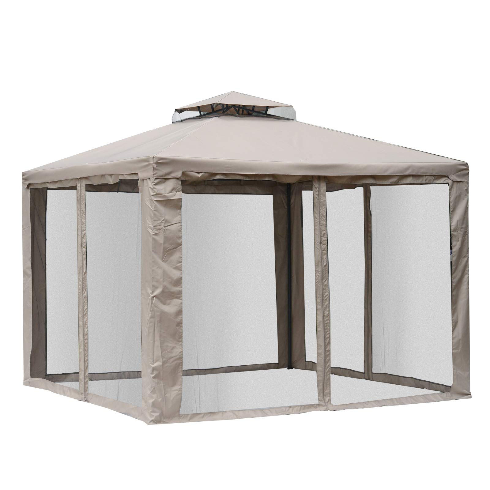 Outsunny 10' x 10' Steel Fabric 2.95m /9.7' Outdoor Patio Gazebo Pavilion Canopy Tent Steel 2-Tier Roof with Netting Square Outdoor Gazebo with Mosquito Netting - Taupe