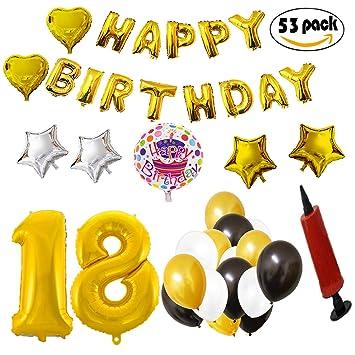 COTIGO - Globos Cumpleaños Happy Birthday #18 Color Dorado, Año 18