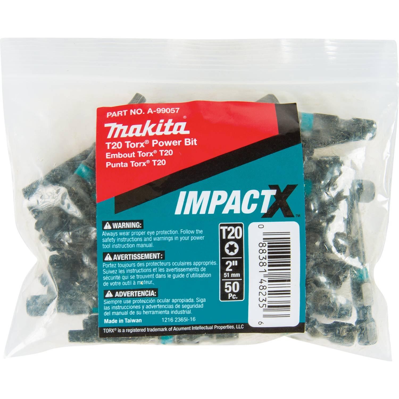 Makita A-99057 Impactx T20 Torx 2″ Power Bit, 50 Pack, Bulk by Makita