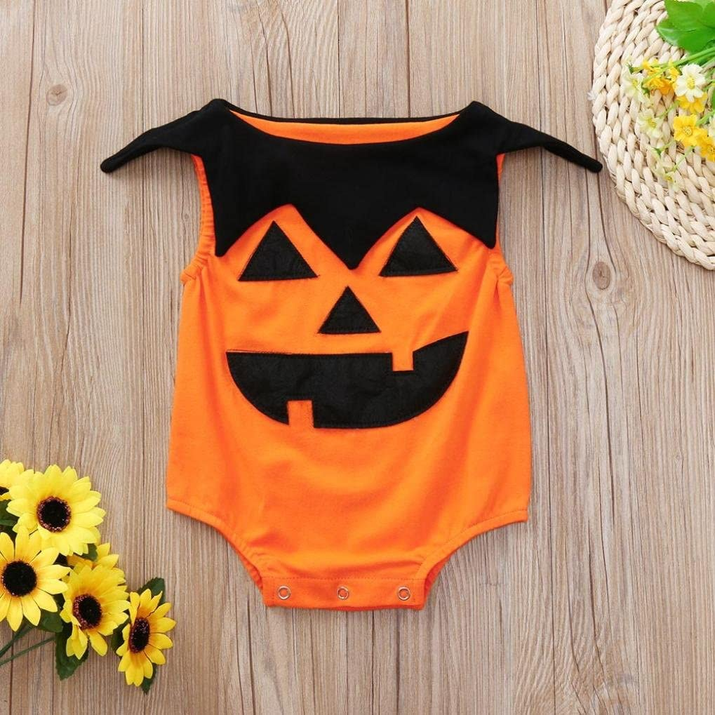 Newborn Toddler Infant Girls Boys Pumpkin Jumpsuit Costume Outfits Franterd Baby Halloween Romper