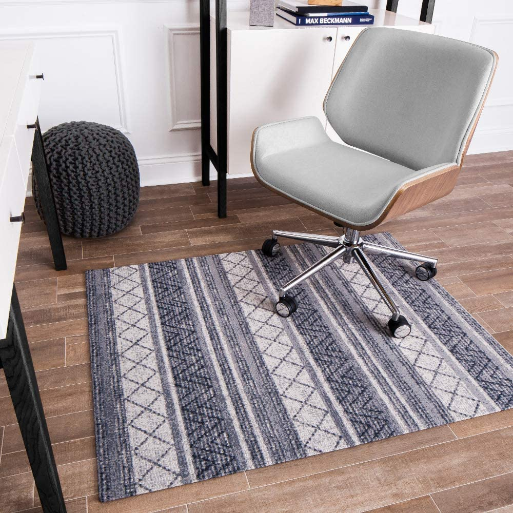 Mitte Gray and Ivory Trellis Anji Mountain Chair Mat Rugd Collection For Low Pile Carpets /& Hard Surfaces 1//4 Thick