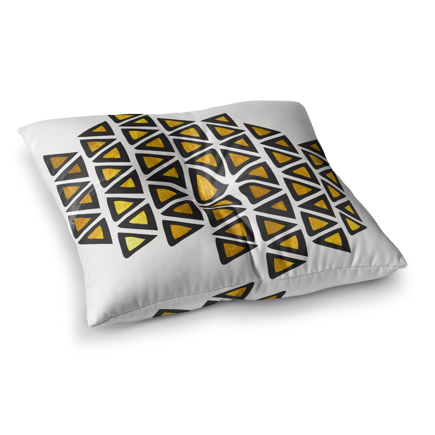 26 x 26 Square Floor Pillow Kess InHouse Pom Graphic Design Heal with Love Green Gold Illustration