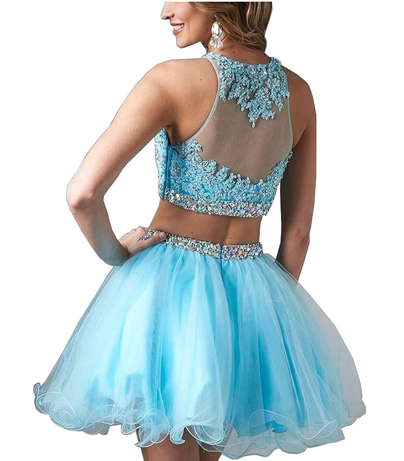Lisa Lace Two Piece Homecoming Beading Short Prom Dresses For ...