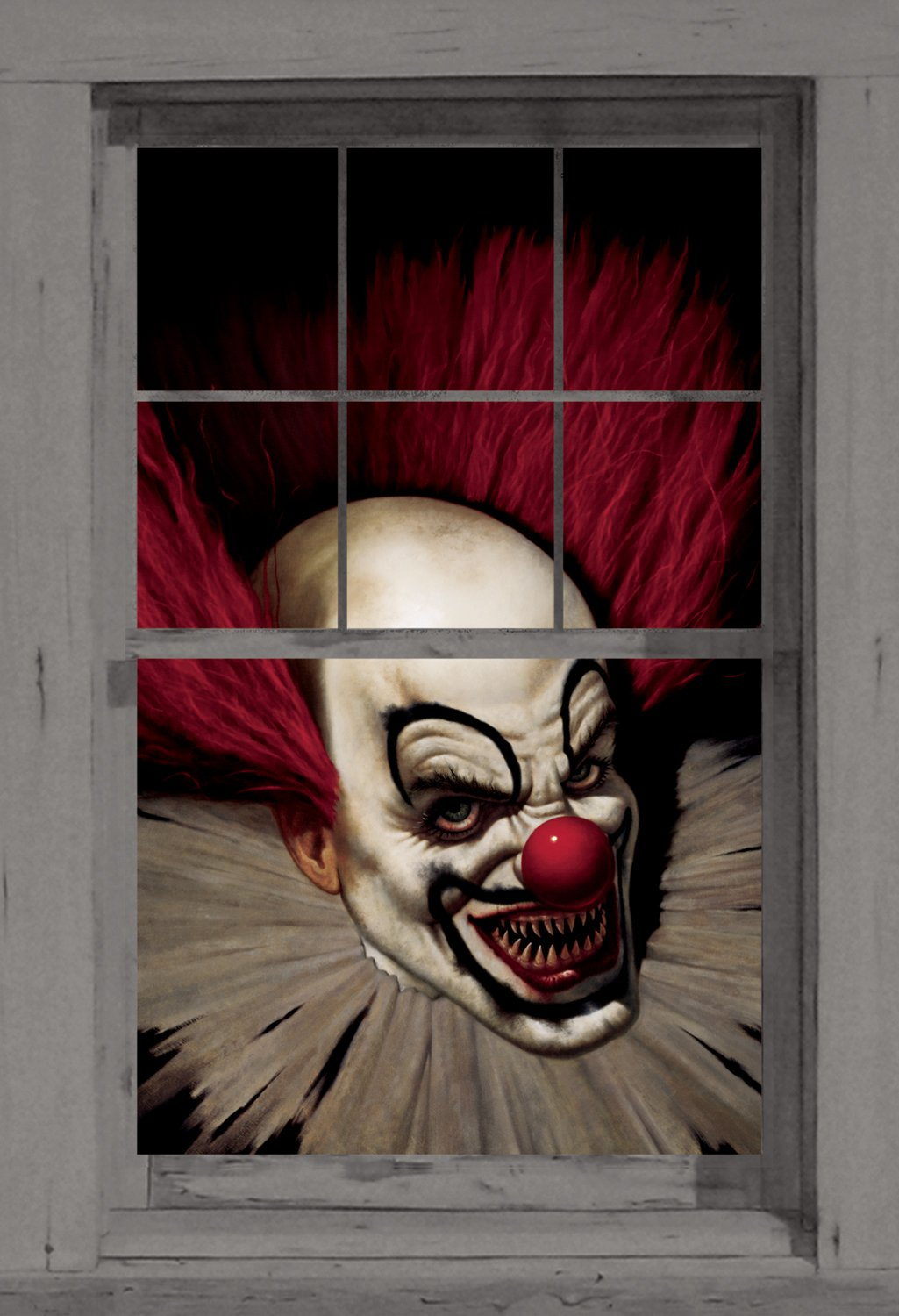 amazoncom wowindow posters slammy the scary clown halloween window decoration 345x60 backlit poster prints posters prints - Scary Decorations
