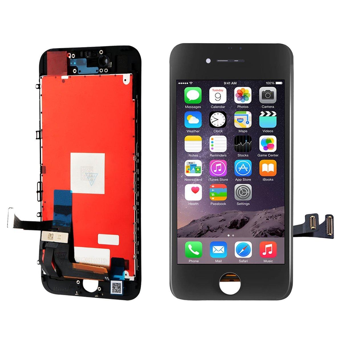 BBSELL LCD Pantalla Táctil Reemplazo De Marco Digital Un Conjunto Completo De Herramientas y Montaje Pantalla De Vidrio Protector para iPhone 7 4.7 (Negro): ...