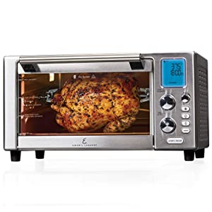 """Emeril Lagasse Power Air Fryer 360 Standard sized with Accessory Pack Better Than Convection Ovens Replaces a Hot Air Fryer Oven, Toaster Oven, Rotisserie, Bake, Broil, Slow Cook, Pizza, Dehydrator & More. Emeril Cookbook. Stainless Steel. (15.1"""" x 19.3"""" x 10.4"""" with Accessory Pack)"""