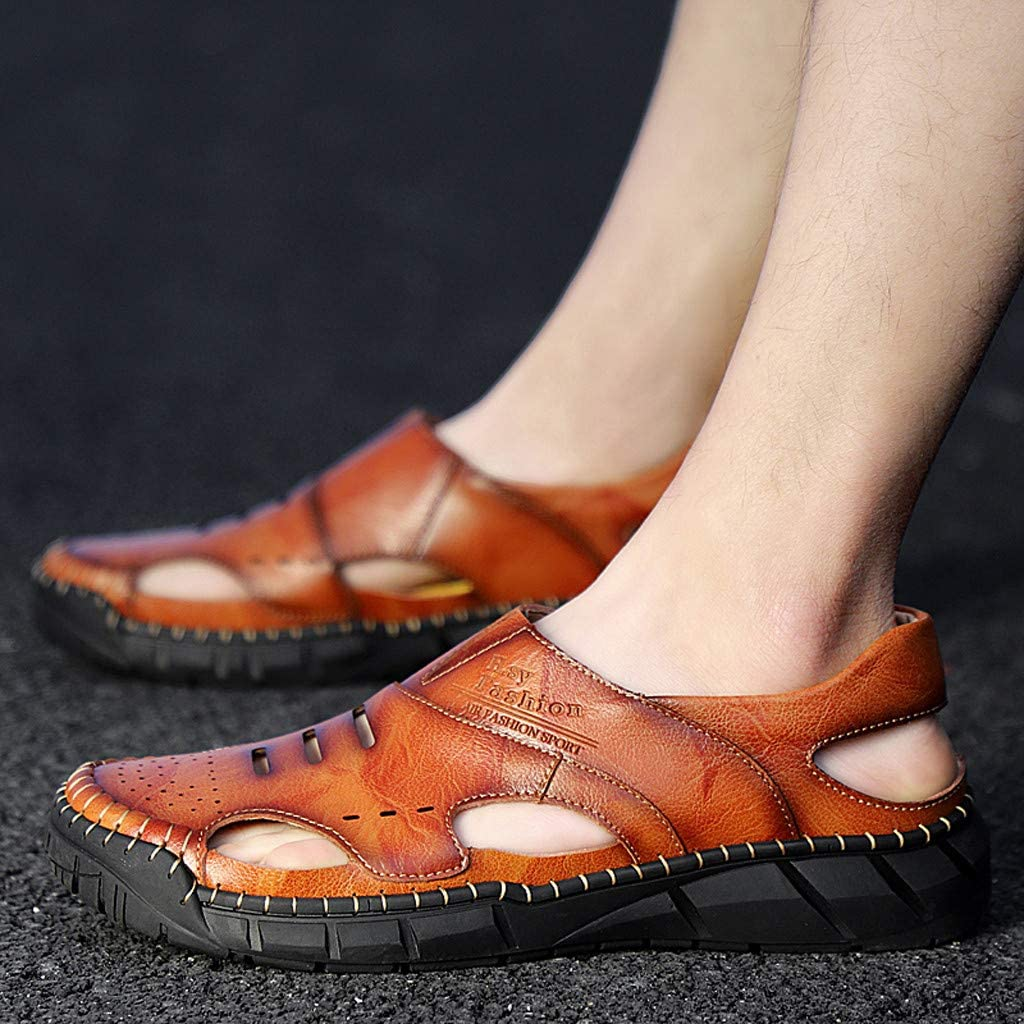 Kiminana Retro Solid Color Single Shoes Men Casual Shoes Summer Comfy Ultra-Light Sandals Outdoor Breathable Slippers