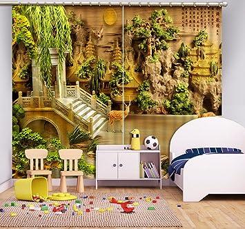 Decoración del hogar Waple Relieve 3D Estereoscópico Cortinas Blackout para Salón Oficina Hotel Casa Pared Cortinas Decoración Personalizada 260X400CM Decoración de ventanas
