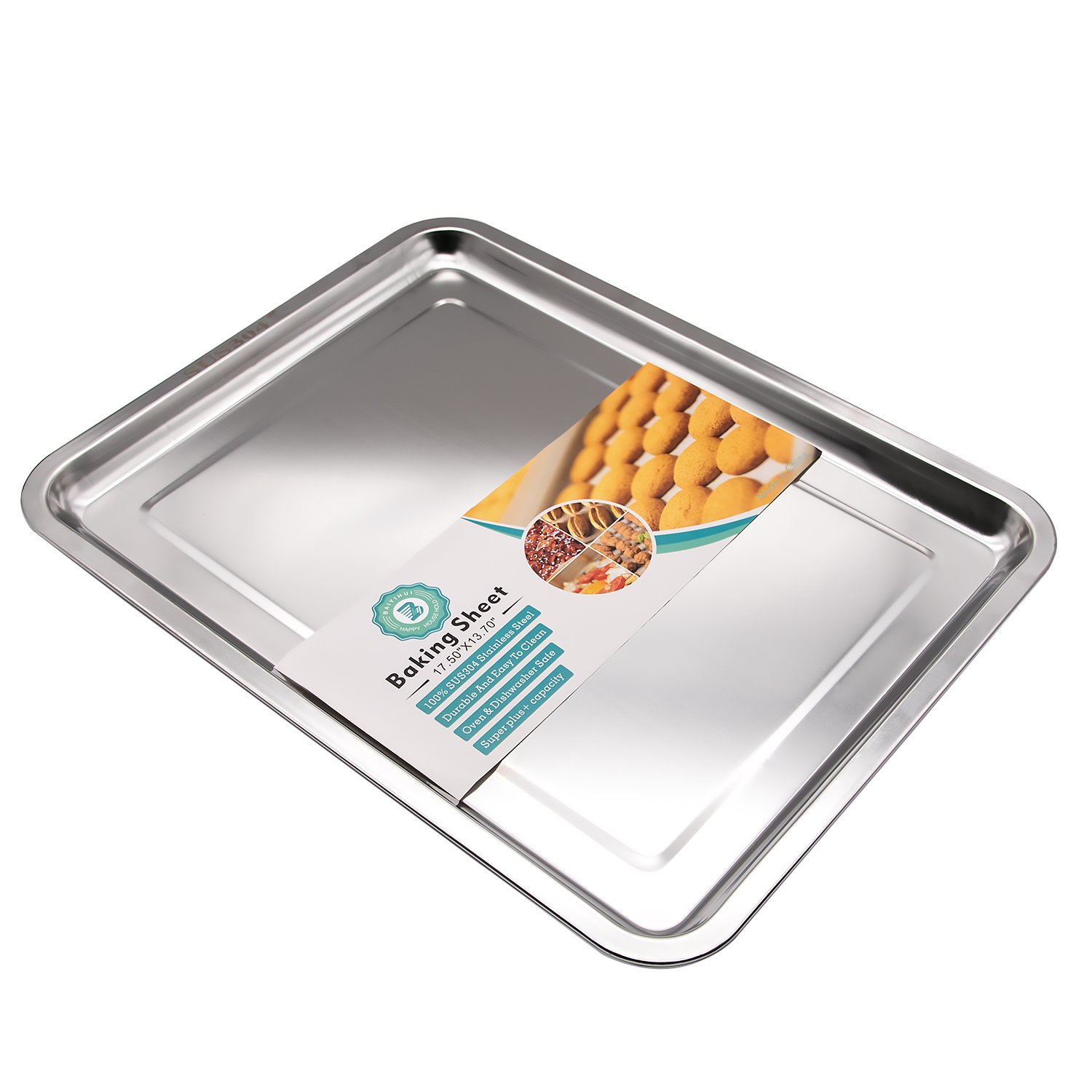 Baiyihui Baking Sheet, Professional SUS304 (18/8) Stainless Steel Cookie Sheet, Oven Safe, Rust Resistant, Non-Stick, Easy to Clean