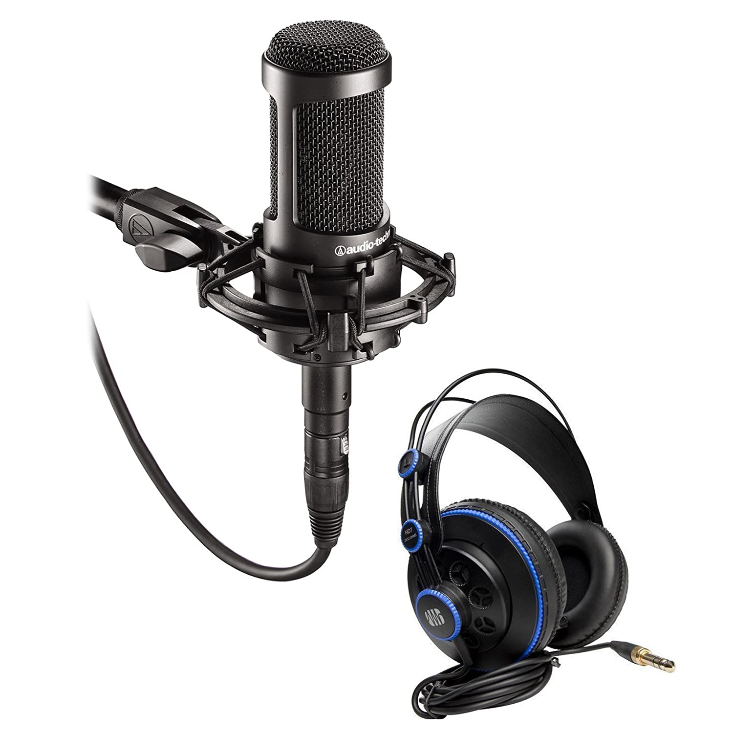 Audio Technica AT2035 Side Address Condenser Studio Microphone+Case+Headphones AT2035+HD7