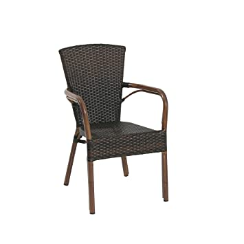 Ribelli Chaise de Jardin en Poly Rotin, Chaise de Bistrot Dossier ...