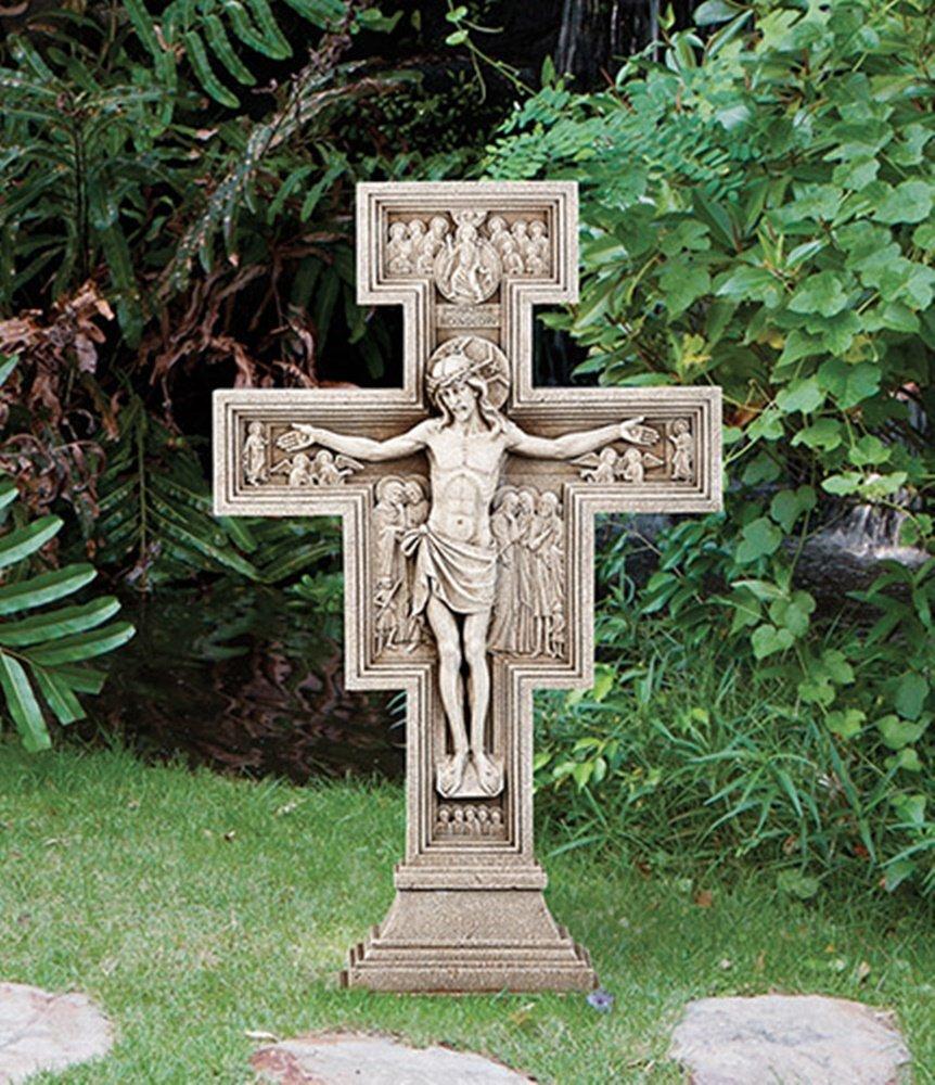 Avalon Gallery San Damiano Go Repair My Church Garden Cross Crucifix, 23 1/2 Inch