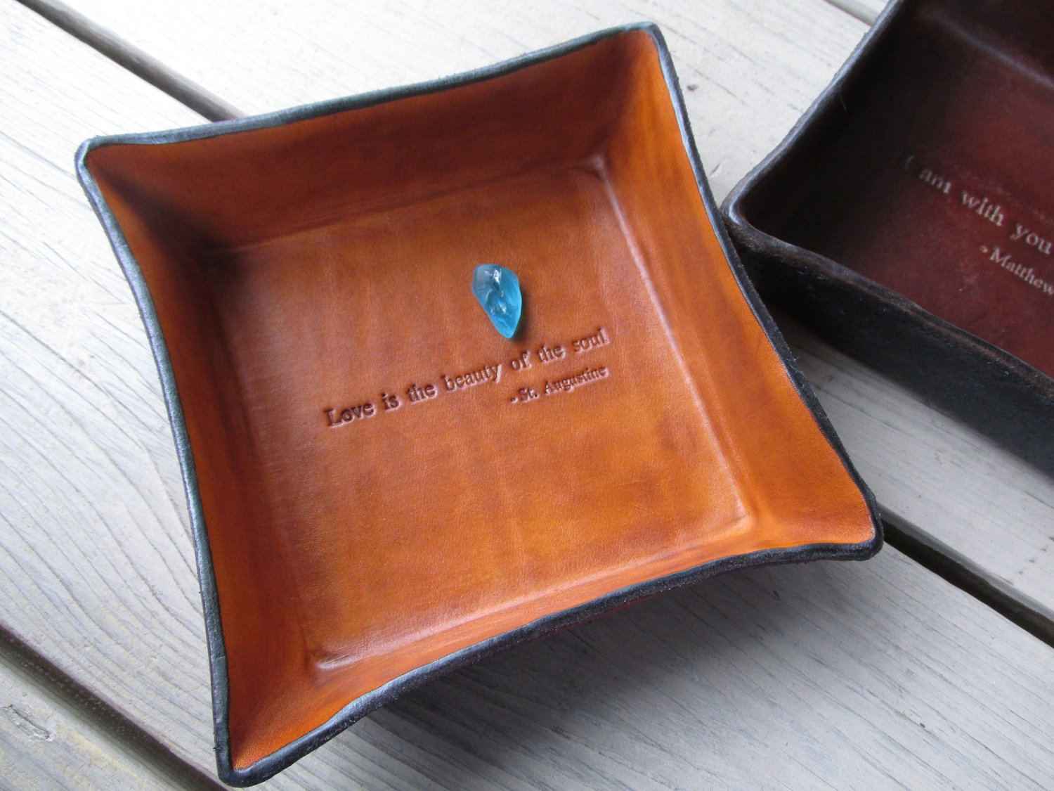 Amazon.com: Leather Anniversary Gift. St. Augustine Quote ...